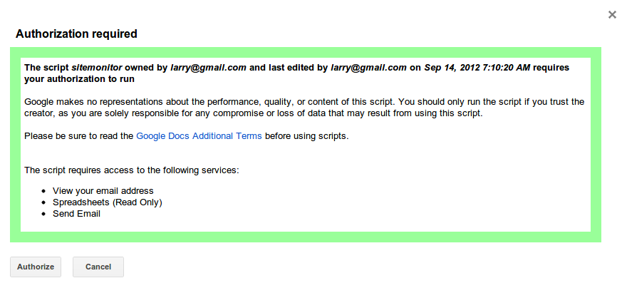 Google Apps Script Authorization Required