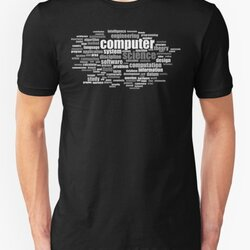 Computer Science Design - Word Cloud of Key Terms Grayscale