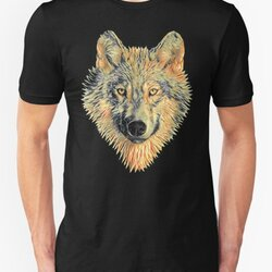 Dream Wolf Design - Orange/Green Colors Painting