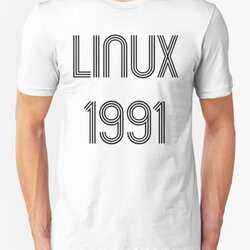 Linux 1991 - Initial Release Year Black Text Design