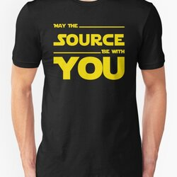 May The Source Be With You - Yellow/Dark Parody Design for Programmers
