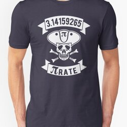 Math Pirate - White Design with Skull, Hat & Bones