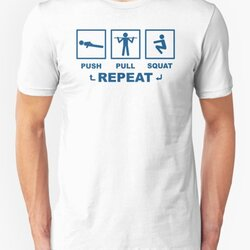 Push Pull Squat Repeat Bodyweight Fitness Blue Design