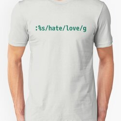 Replace Hate with Love - Peaceful vi/Vim Geek Green Design