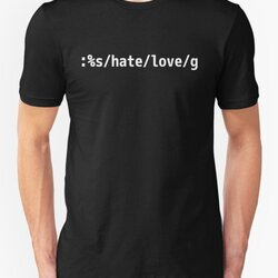 Replace Hate with Love - Peaceful vi/Vim Geek White Design