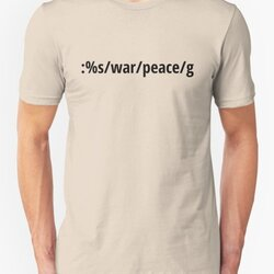 Replace War with Peace - Pacifist vi/Vim Geek - Black Text