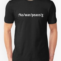 Replace War with Peace - Pacifist vi/Vim Geek - White Text