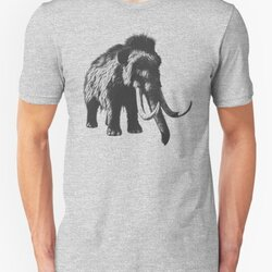 Woolly Mammoth Pen Drawing Design in Shades of Gray