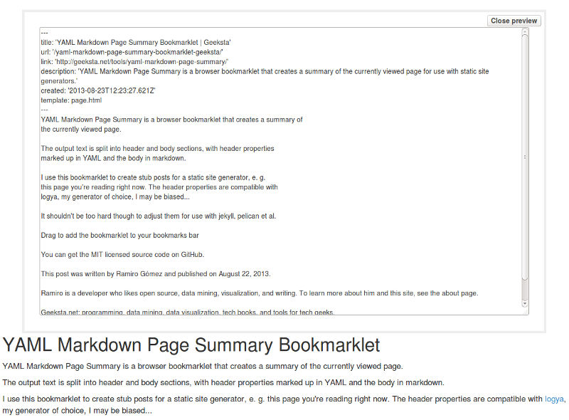 YAML Markdown Preview
